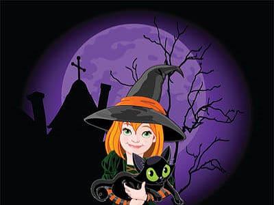 Das Bild zeigt eine liebe Hexe mit ihrer Katze.