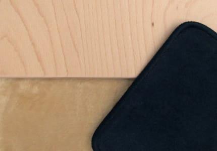Natur-Plüsch-Beige Teppich Dunkelblau